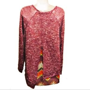 LORD & TAYLOR DESIGN LAB layered red shirt L